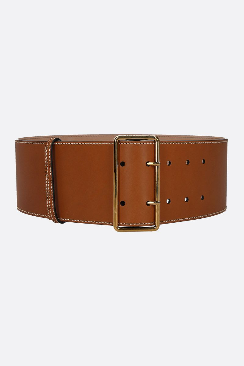 ALEXANDER McQUEEN: smooth leather waist belt Color Brown_1