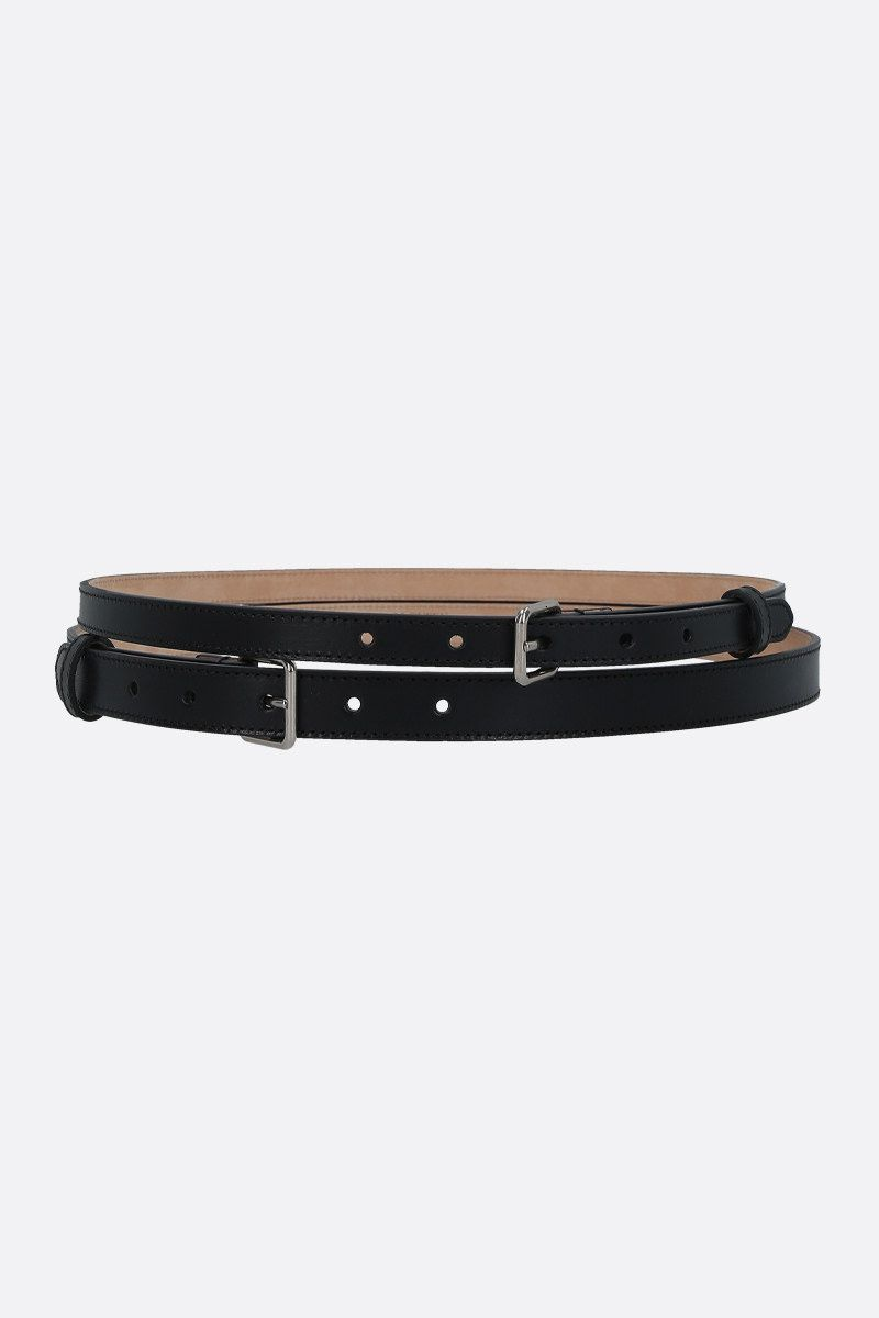 ALEXANDER McQUEEN: smooth leather long double belt Color Black_1