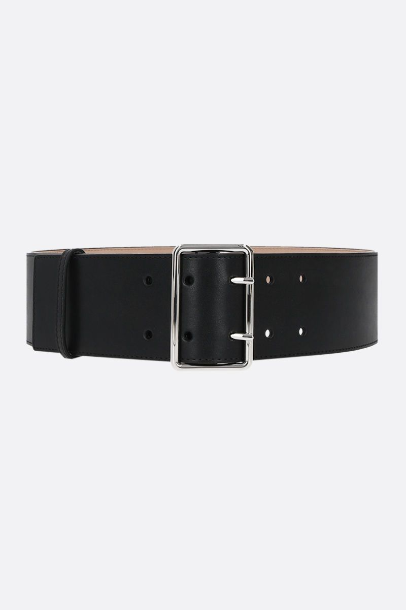 ALEXANDER McQUEEN: Military smooth leather belt Color Black_1