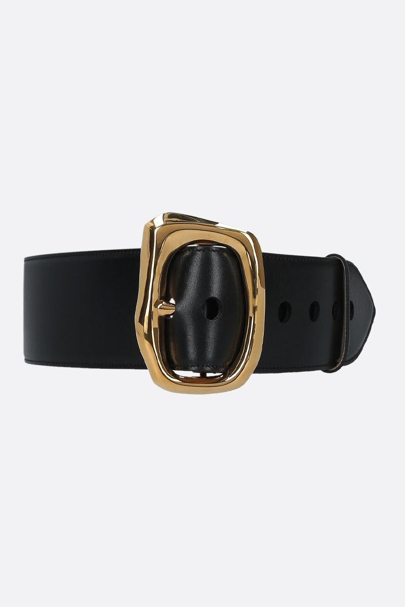 ALEXANDER McQUEEN: smooth leather waist belt Color Black_1
