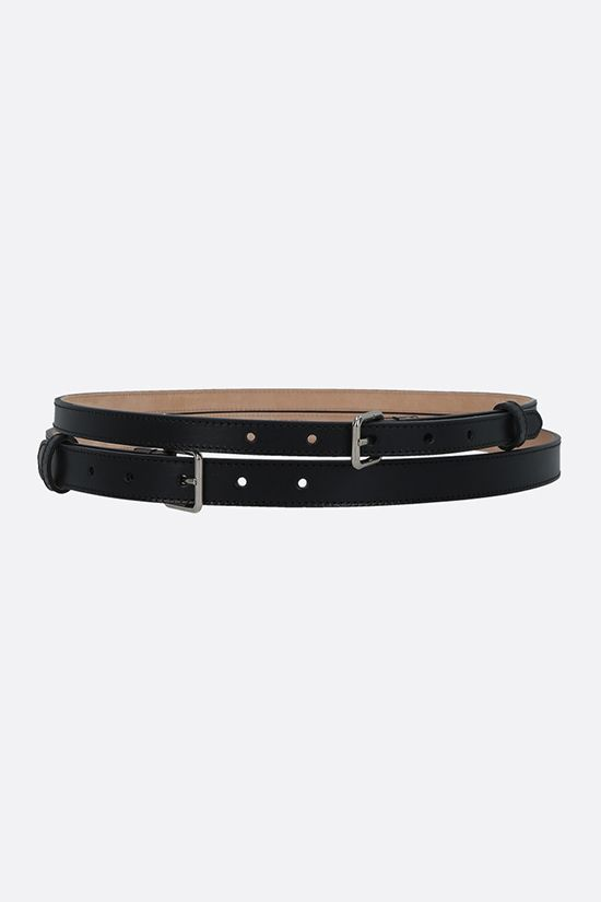 ALEXANDER McQUEEN: smooth leather thin double belt Color Black_1
