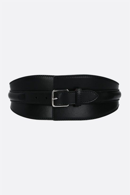 ALEXANDER McQUEEN: smooth leather corset waist belt Color Black_1