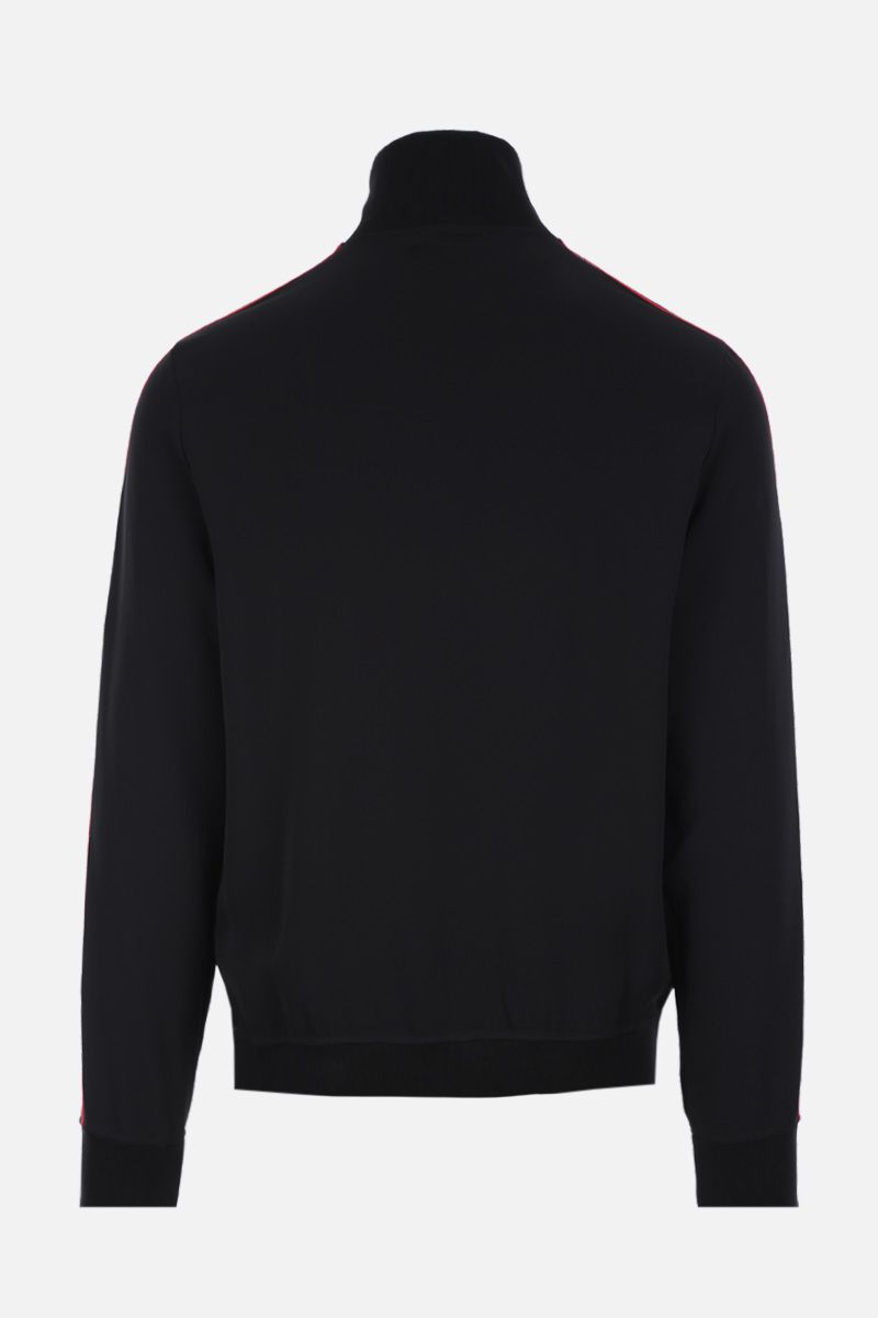 ALEXANDER McQUEEN: full-zip sweatshirt in technical jersey with logoed bands Color Black_2