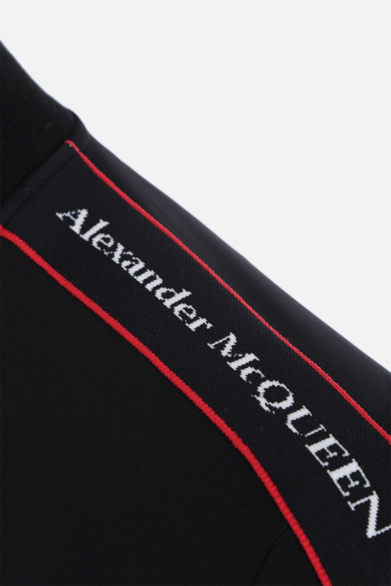 ALEXANDER McQUEEN: full-zip sweatshirt in technical jersey with logoed bands Color Black_3