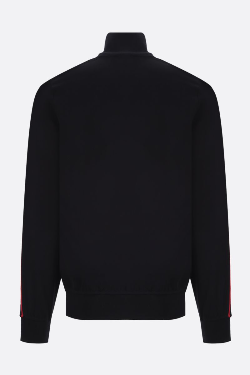 ALEXANDER McQUEEN: logoed band-detailed jersey full-zip sweatshirt Color Black_2