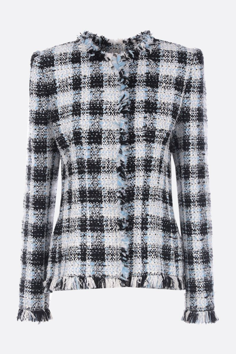 ALEXANDER McQUEEN: checked tweed single-breasted jacket Color Blue_1