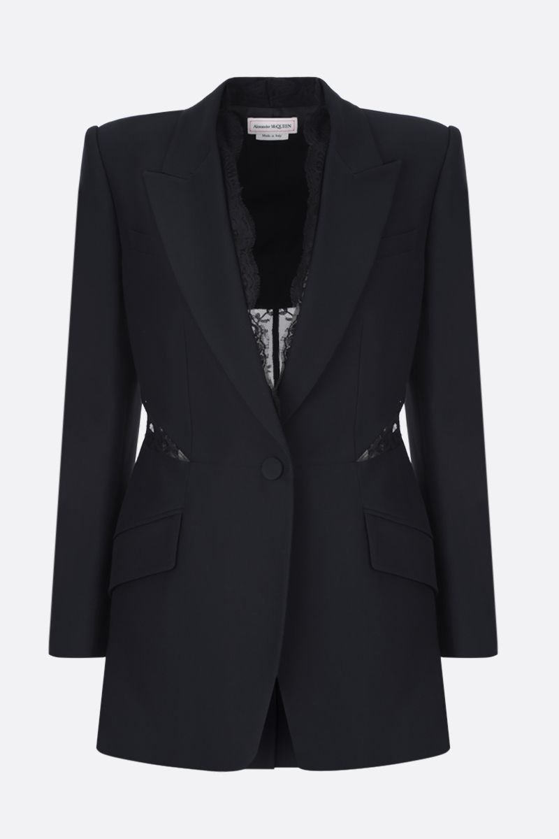ALEXANDER McQUEEN: crepe single-breasted jacket with lace inserts Color Black_1