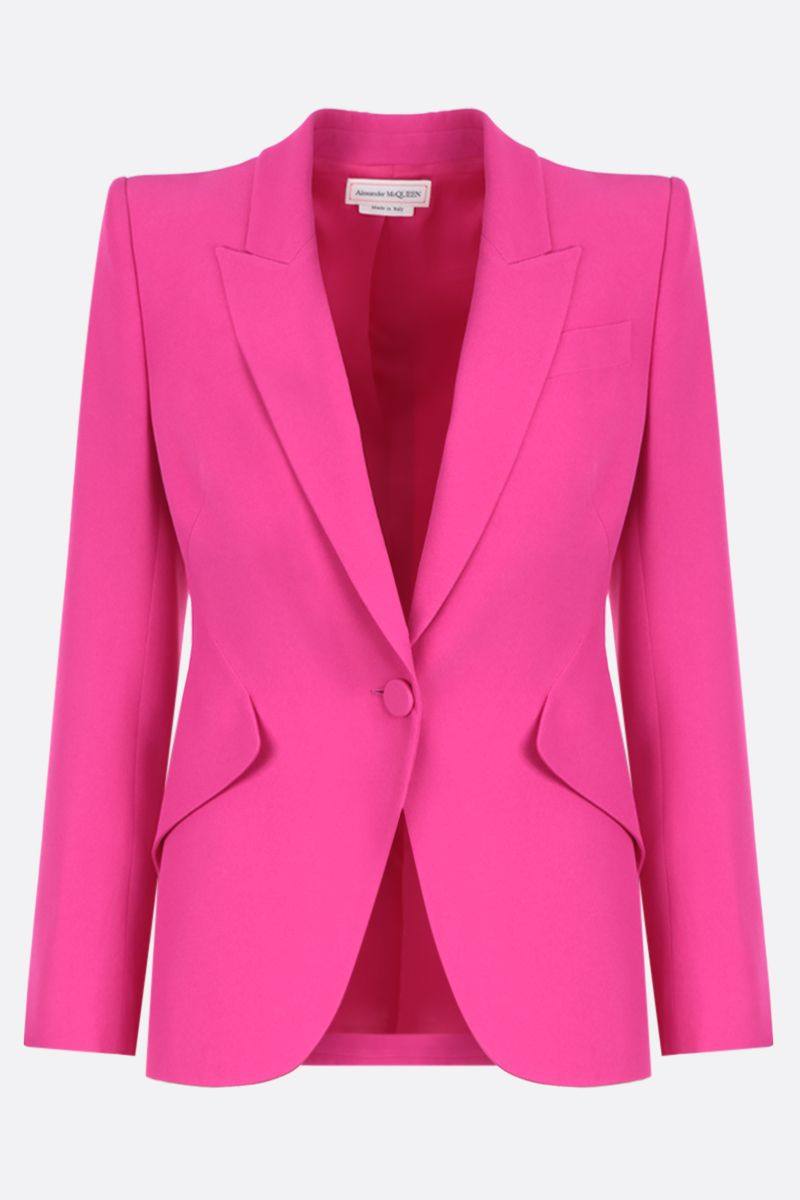 ALEXANDER McQUEEN: crepe single-breasted jacket Color Pink_1