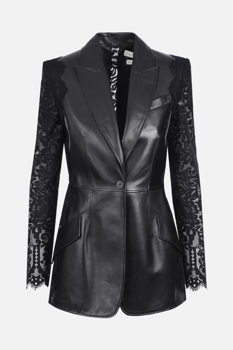 ALEXANDER McQUEEN: soft nappa single-breasted jacket with lace sleeves Color Black_1