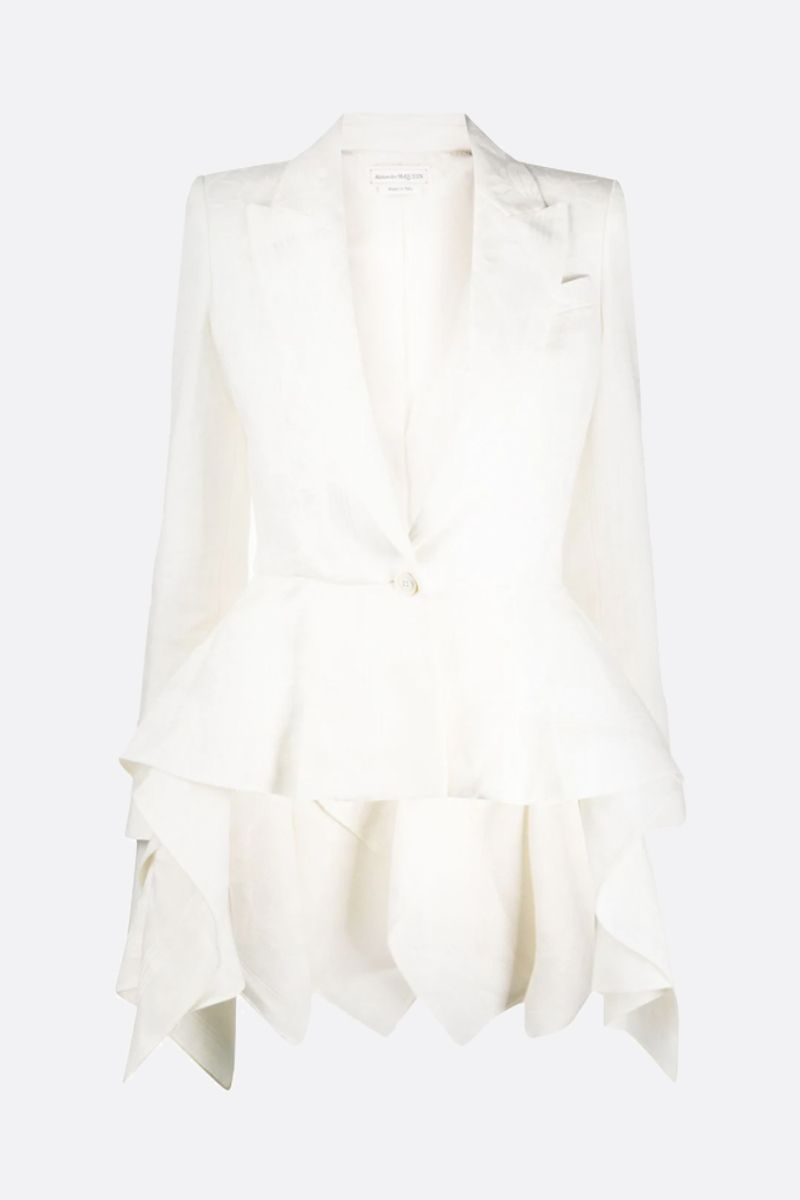 ALEXANDER McQUEEN: linen jacquard single-breasted jacket Color White_1