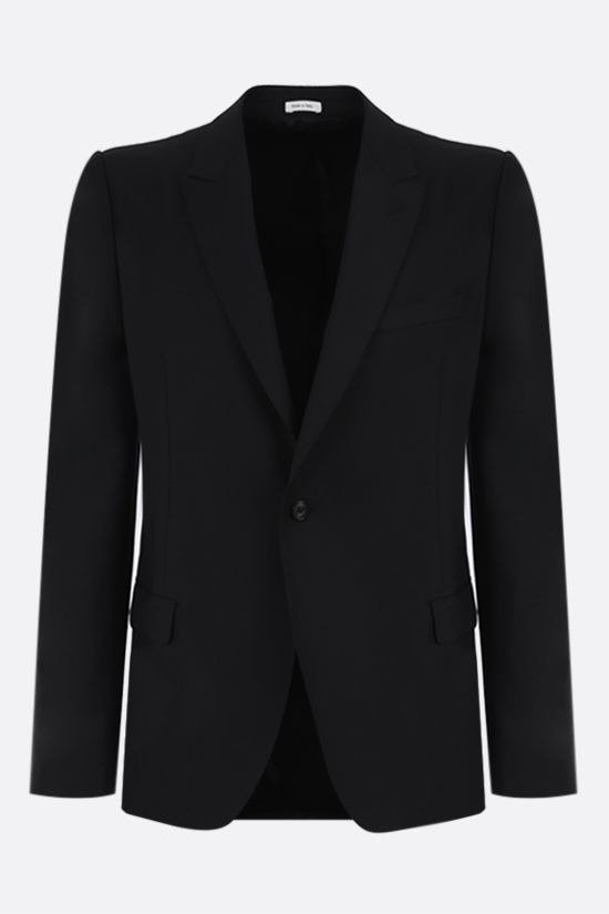 ALEXANDER McQUEEN: single-breasted wool mohair blend jacket Color Black_1