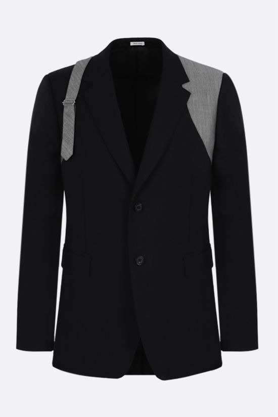 ALEXANDER McQUEEN: harness-detailed single-breasted wool jacket Color Black_1