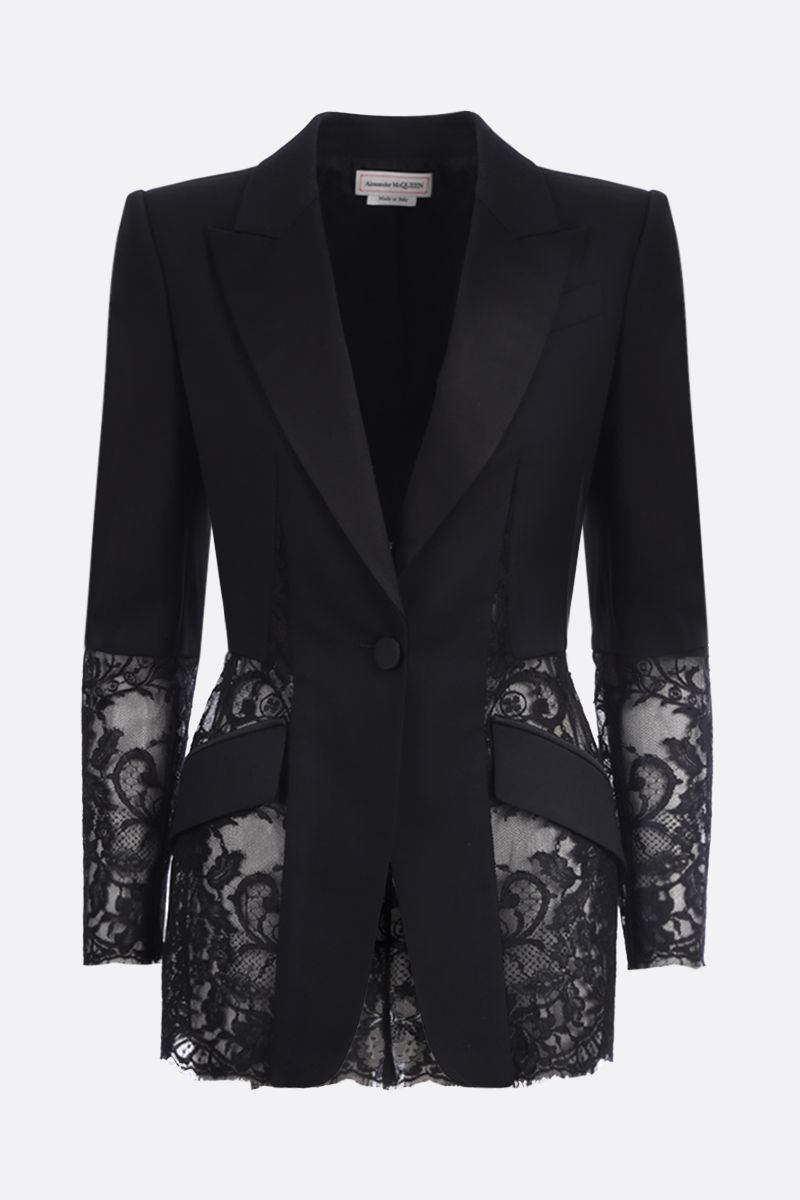 ALEXANDER McQUEEN: lace insert-detailed wool silk blend single-breasted jacket Color Black_1