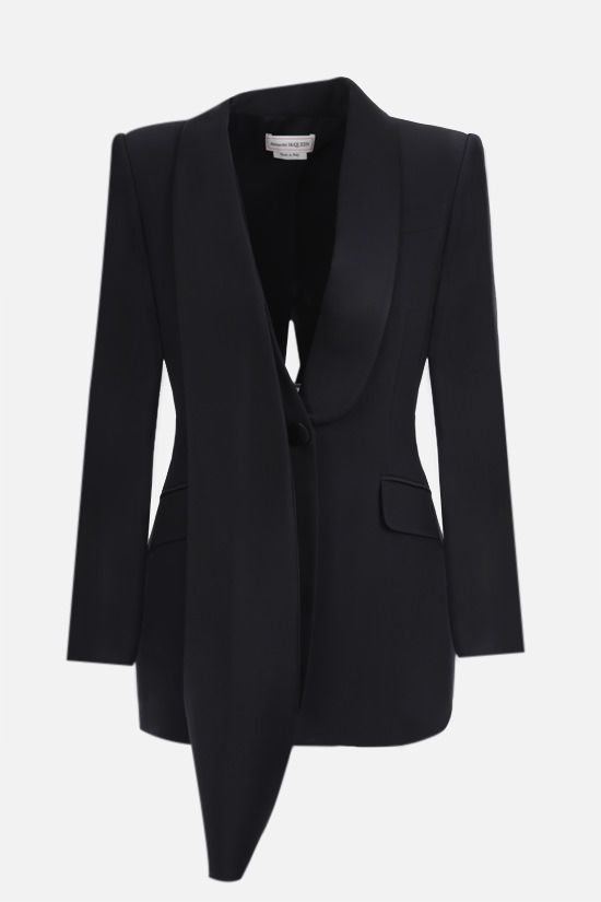 ALEXANDER McQUEEN: single-breasted cady and satin jacket Color Black_1