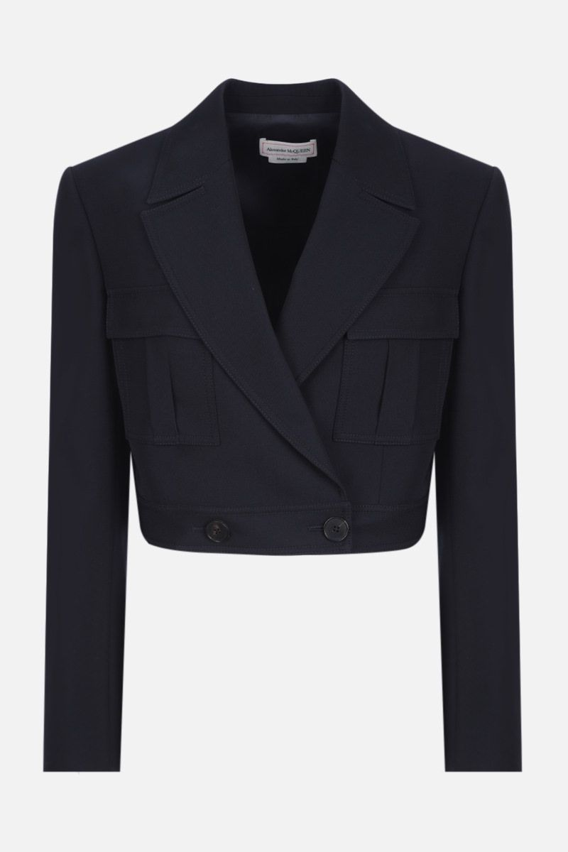 ALEXANDER McQUEEN: double-breasted wool cotton blend cropped jacket Color Blue_1