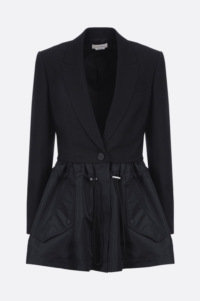 ALEXANDER McQUEEN: Parka Hybrid single-breasted wool and nylon jacket Color Black_1