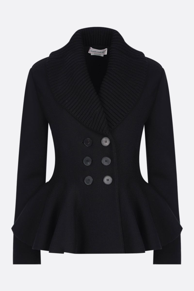 ALEXANDER McQUEEN: double-breasted knit jacket Color Black_1