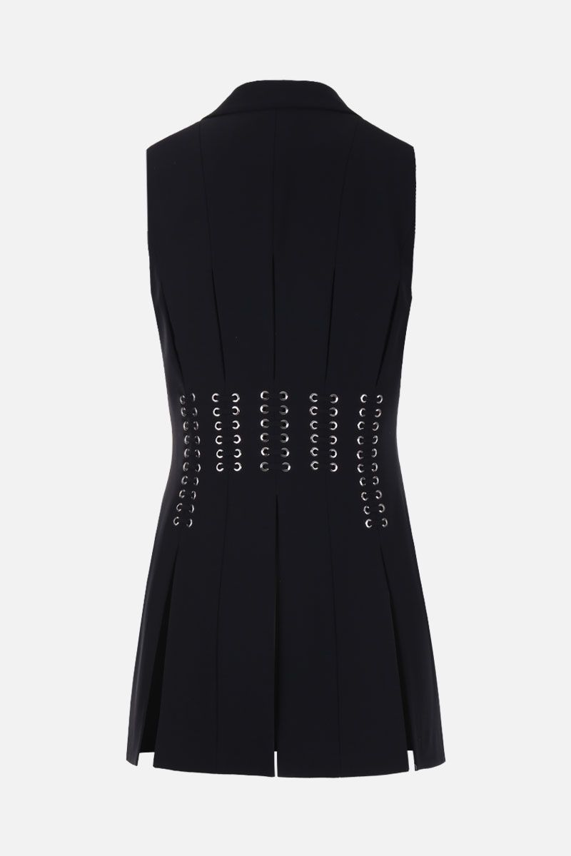ALEXANDER McQUEEN: eyelets and laces embellished crepe waistcoat Color Black_2