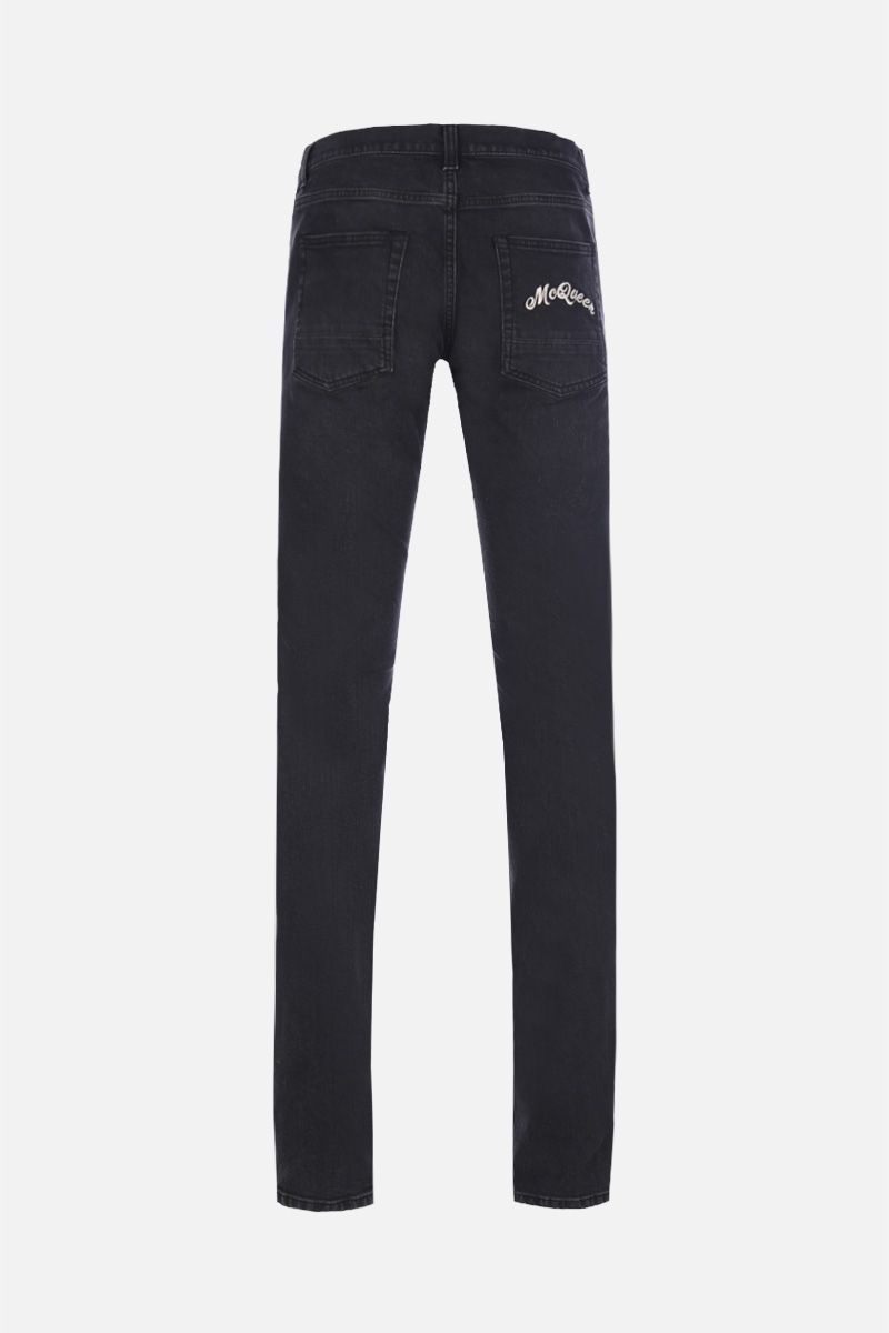 ALEXANDER McQUEEN: logo embroidered skinny jeans Color Black_2
