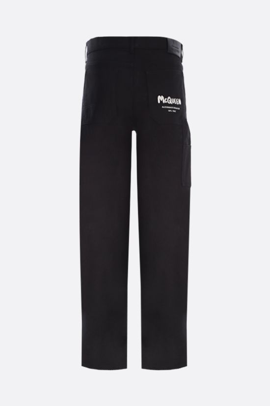 ALEXANDER McQUEEN: McQueen Graffiti straight-leg jeans Color Black_2