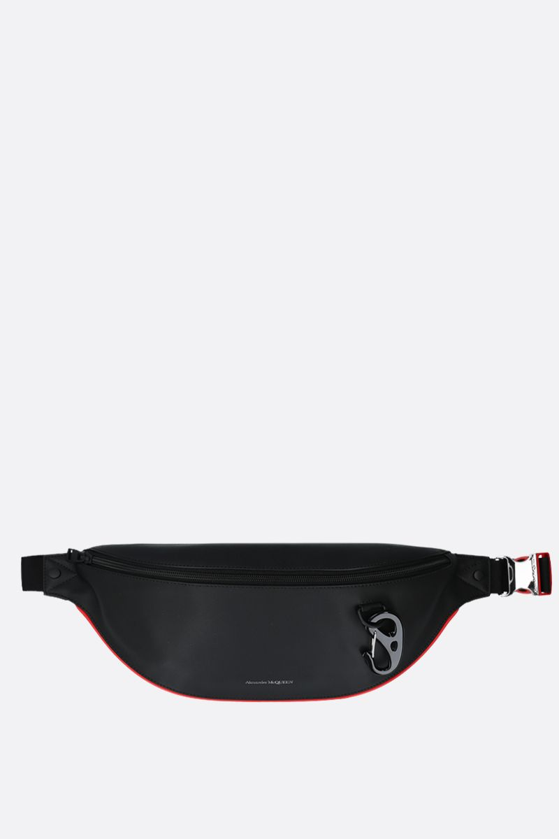 ALEXANDER McQUEEN: Harness nappa leather oversize belt bag Color Black_1