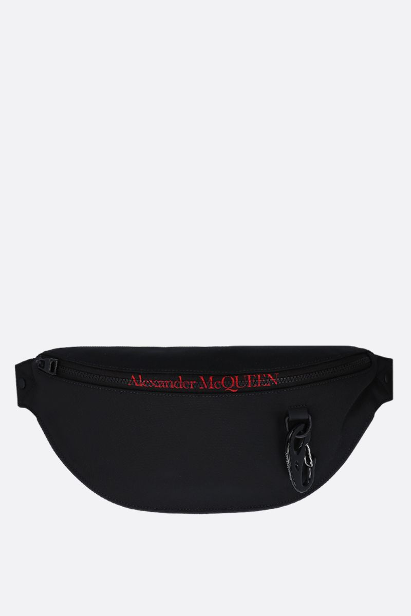 ALEXANDER McQUEEN: marsupio Harness oversize in nylon Colore Nero_1
