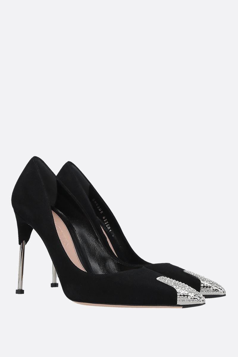 ALEXANDER McQUEEN: crystal-detailed velvet suede pumps Color Black_2