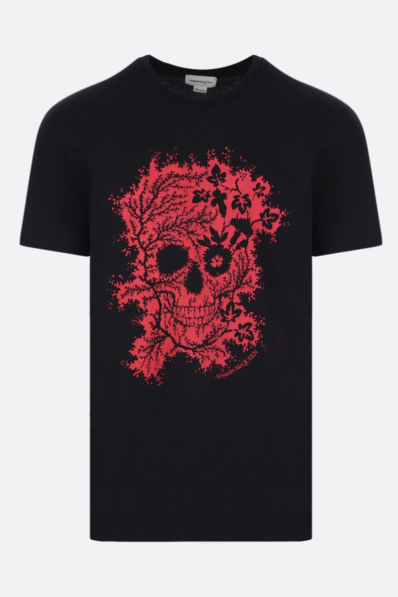 ALEXANDER McQUEEN: Ivy Skull cotton t-shirt Color Black_1