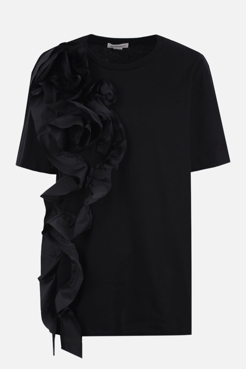 ALEXANDER McQUEEN: rose-embellished cotton t-shirt Color Black_1