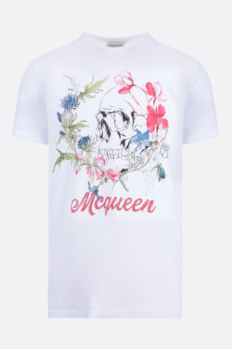 ALEXANDER McQUEEN: Floral Skull printed cotton t-shirt Color White_1