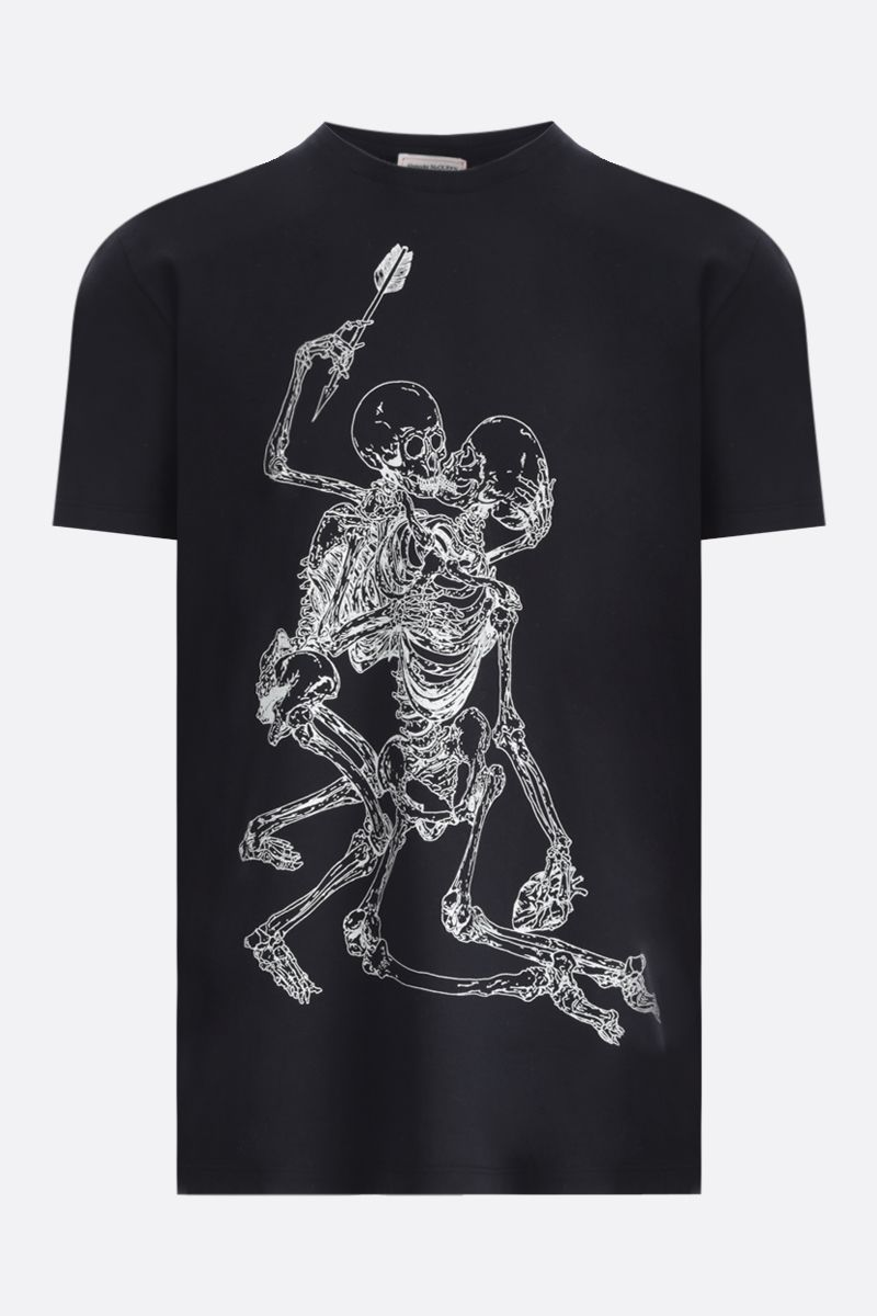 ALEXANDER McQUEEN: Skulls print cotton t-shirt Color Black_1