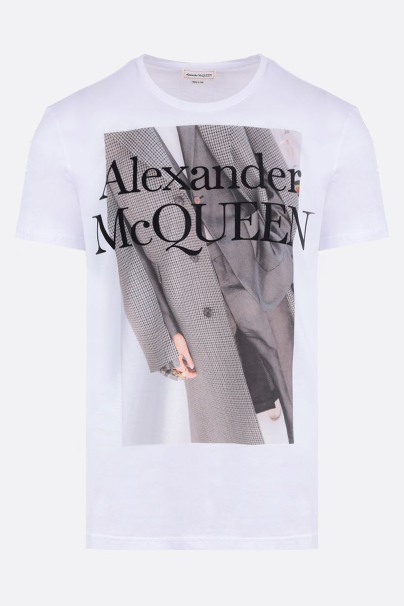 ALEXANDER McQUEEN: photographic print cotton t-shirt Color White_1