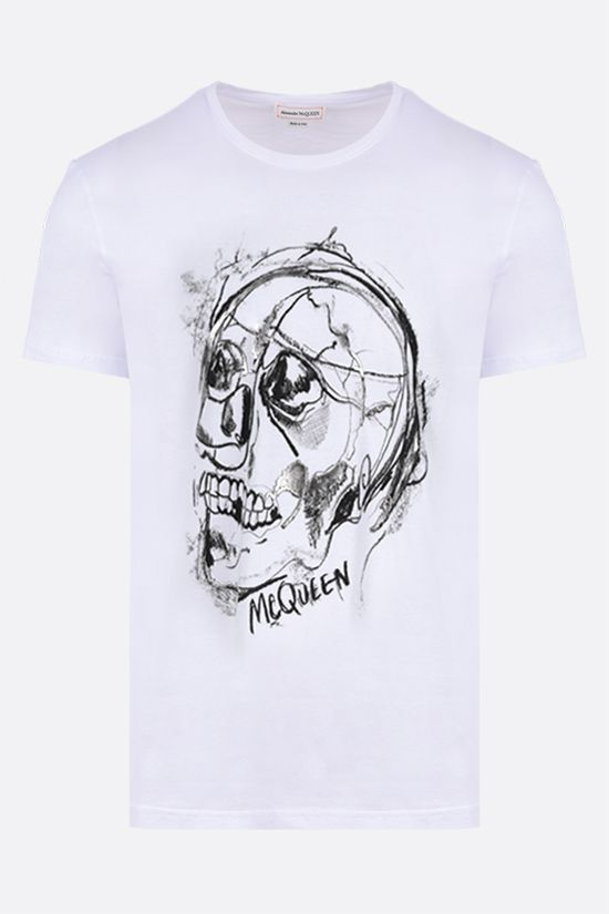 ALEXANDER McQUEEN: Skull graphic print cotton t-shirt Color White_1