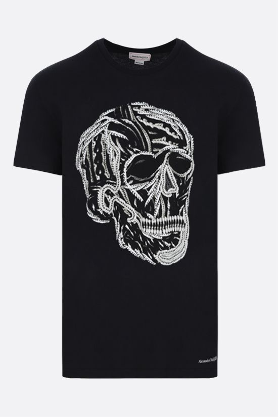 ALEXANDER McQUEEN: Skull print cotton t-shirt Color Black_1