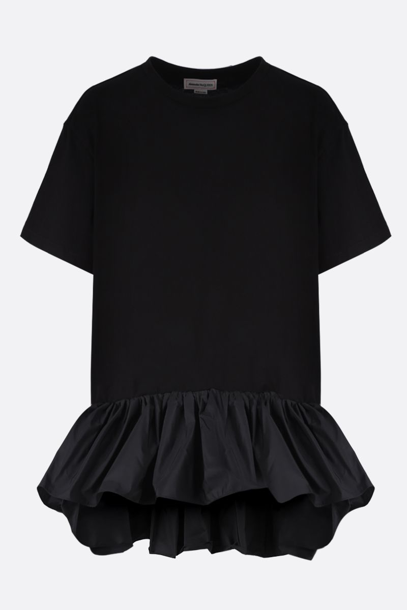 ALEXANDER McQUEEN: taffetà flounce-detailed cotton t-shirt Color Black_1