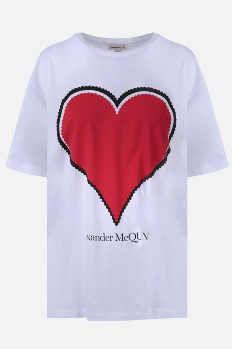 ALEXANDER McQUEEN: heart print cotton oversize t-shirt Color White_1