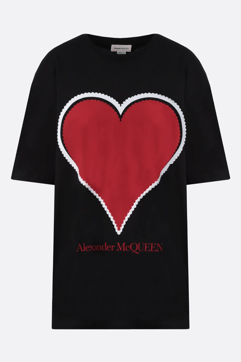ALEXANDER McQUEEN: heart print cotton oversize t-shirt Color Black_1