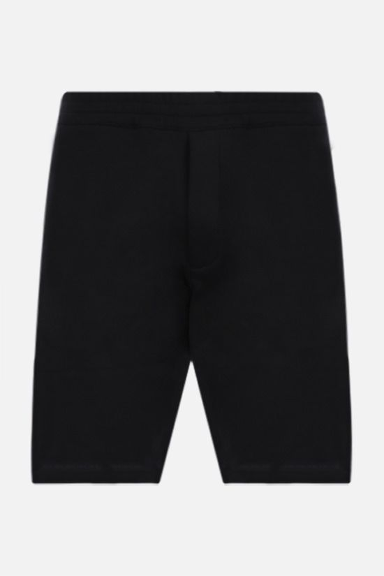 ALEXANDER McQUEEN: logoed band-detailed cotton shorts Color Black_1