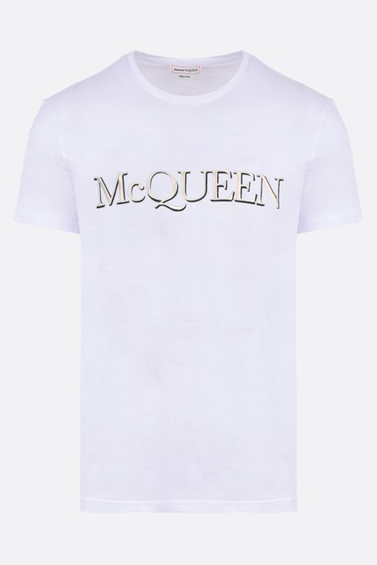 ALEXANDER McQUEEN: McQueen embroidered cotton t-shirt Color White_1