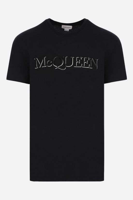 ALEXANDER McQUEEN: McQueen embroidered cotton t-shirt Color Black_1