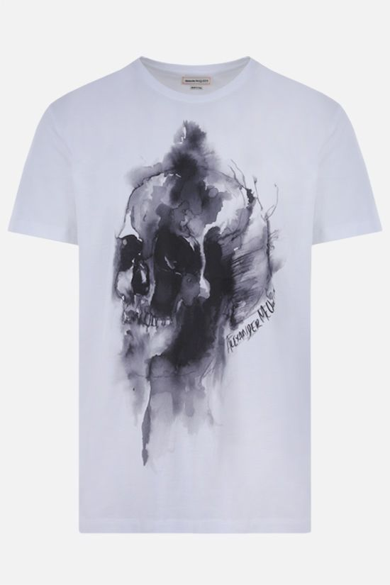 ALEXANDER McQUEEN: Skull print cotton t-shirt Color White_1