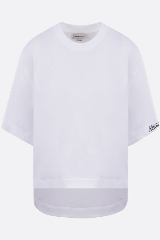 ALEXANDER McQUEEN: Alexander McQueen cropped cotton t-shirt Color White_1