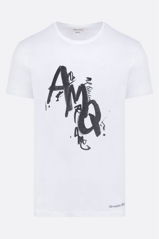 ALEXANDER McQUEEN: AMQ print cotton t-shirt Color White_1