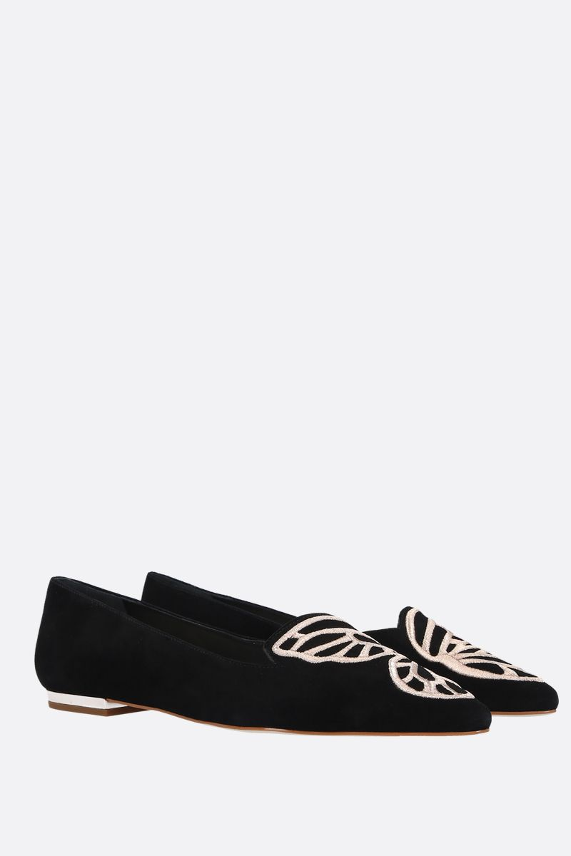 SOPHIA WEBSTER: Butterfly velvet suede ballerinas Color Black_2