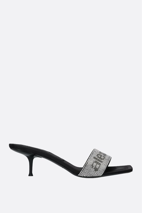 ALEXANDER WANG: Jessie crystal-embellished satin sandals Color Black_1