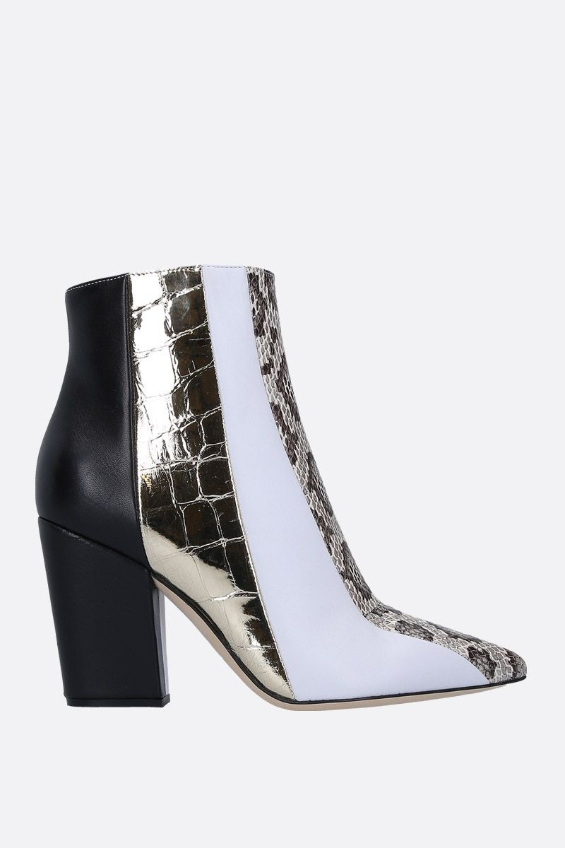 SERGIO ROSSI: Sergio ankle boots in patchwork leather Color White_1
