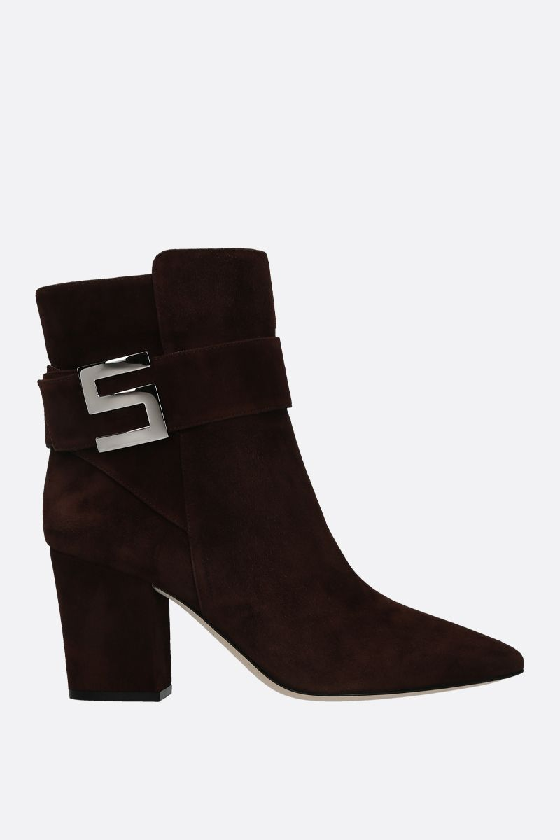 SERGIO ROSSI: Sergio Logomaniac suede ankle boots Color Brown_1