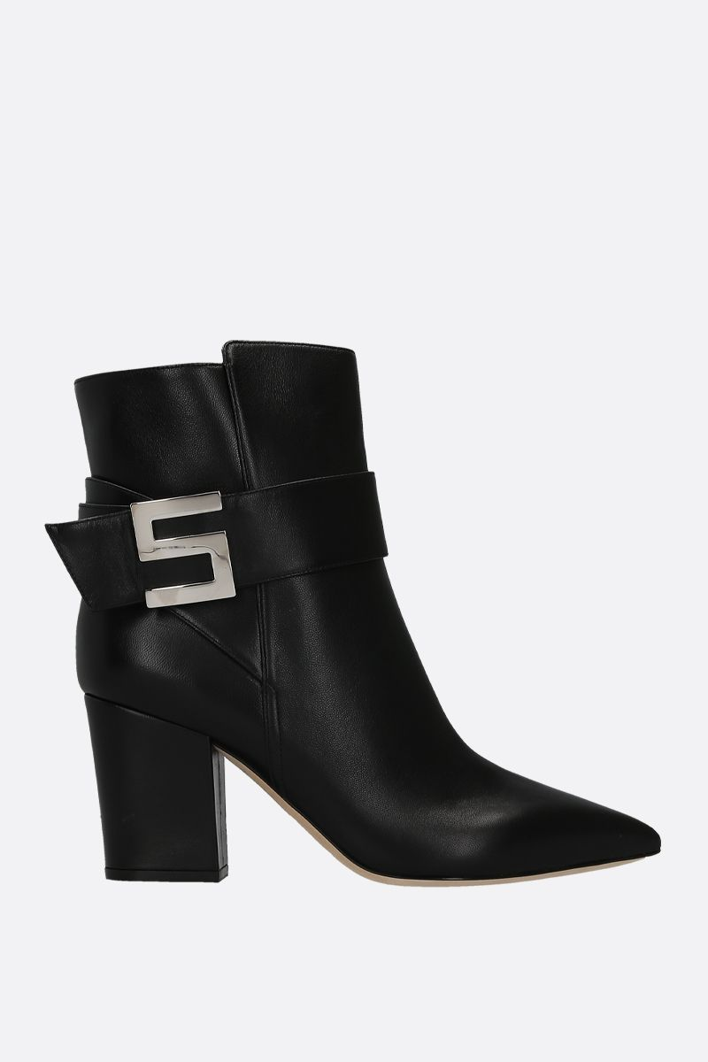 SERGIO ROSSI: Sergio Logomaniac ankle boots in nappa leather Color Black_1