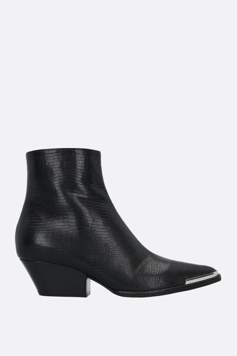 SERGIO ROSSI: Carla lizard-embossed leather western boots Color Black_1