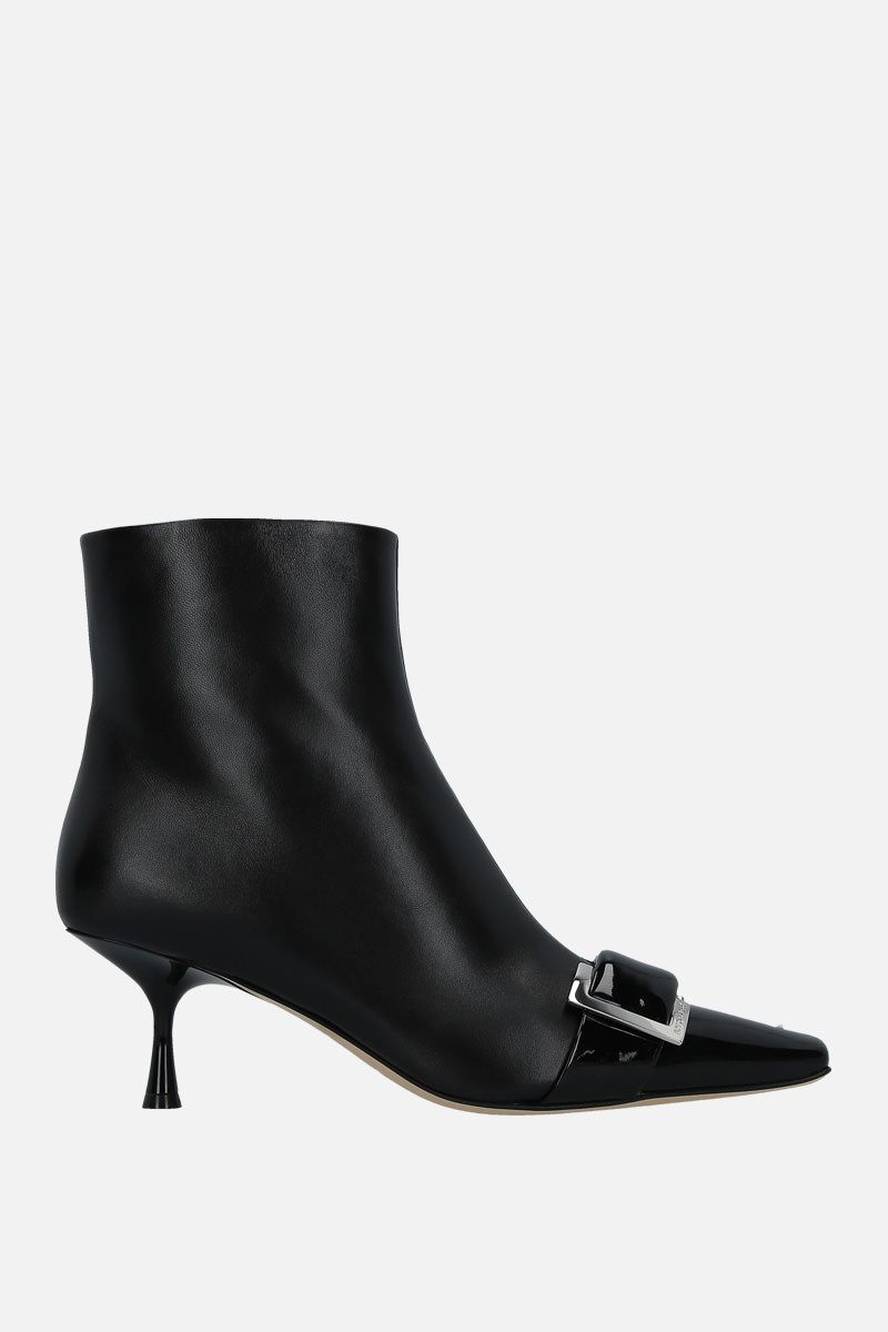 SERGIO ROSSI: sr Twenty patent leather and nappa booties Color Black_1